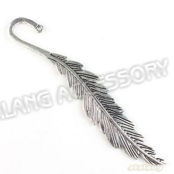 9pcs/lot Wholesale Zinc Alloy Feather Charms Metal Bookmark Vintage Silver For Beading Handcraft Making 140mm 160813