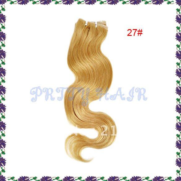 "Women's18""L PU Seamless Skin Weft Remy Human Hair Extensions Color#27"