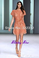 2013 Elie Saab Couture High Fashion Orange Mini Tulle Pretty Full Beads Beautiful Modest Short Length Party Dress Cocktail Gown