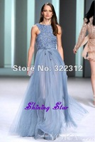2013 Elie Saab Couture Blue Elegant Soft Tulle A-line Beads Handmade Formal Floor Length Celebrity Prom Dress Evening Gown