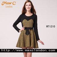 2012 Fashion solid  ladies smart casual dress