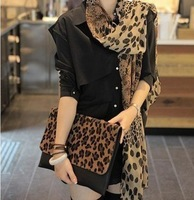 Thin female silk scarf leopard print scarf chiffon  long silk scarf