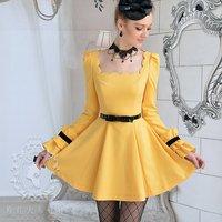 petal collar /ruffle long-sleeve for women pary dresses Yellow