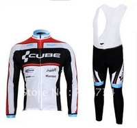 Hot Sell Winter Fleece Long Sleeve Cycle Jersey+BIB Pant Set/Cube Wear/Bike Clothing/Cycling Jersey/BikeAccessory