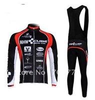 2012 Cube Fast Shipping Hot Selling Long Sleeve Winter Fleece Bicycle Jersey +BIB Pant Set/Cycling Wear/Pants/Biking Clothing
