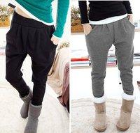 Korean Casual Solid color Plus Velvet Harem Long pants Free shipping / Cotton+Polyster /2 color