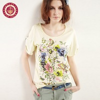 Free shipping 2014 spring autumn memories of the autumn bronzier painting all-match loose t-shirt