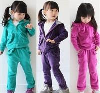 Free Shipment Fashion girl's Sport Suits Hot brand MOQ 1pcs Size 110,120,130,140