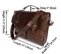 FREE SHIPPING Guarantee 100% Genuine Vintage Tan Leather Men's Briefcase Men Messenger Bag Shoulder Bag