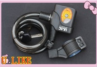 free shipment 12*120cm Bicycle alarm lock excellent the force  bike lock super anti-theft alarm lock with bracket