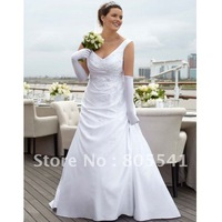 Free Shipping Designer Satin Off the Shoulder Side Draped A Line Gown White Plus Size Wedding Dress 9WG3248