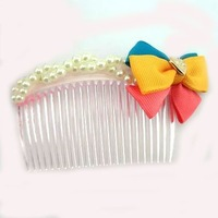 20pcs/lot Free Shipping Pearl Ribbon Bow Hair Combs. Woman Fashion Hair Combs Clips