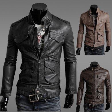 men's Leather Jacket Trend Leisure Stylish 2012 New Hot Men Slim High ...