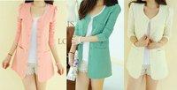 Women SWomen Suit Blazer Buttons Pocket Long Sleeve Jacket Candy Color S M L