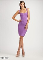Free Shipping High Quality Bandage Dress  HL028 Light Purple Strap Evening Cocktail Dress