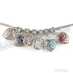 Hot Selling Mixed Colorful Heart 18pcs/lot New Charms Silvery Alloy European Beads Fit Bracelet DIY 32*17*8mm 151982(China (Mainland))