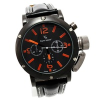 Free shipping 10pcs/Lot  Hot sale Classic black leather V6 Super Speed Orange Dials Men Quartz Sport Business watch Q0504 x 10