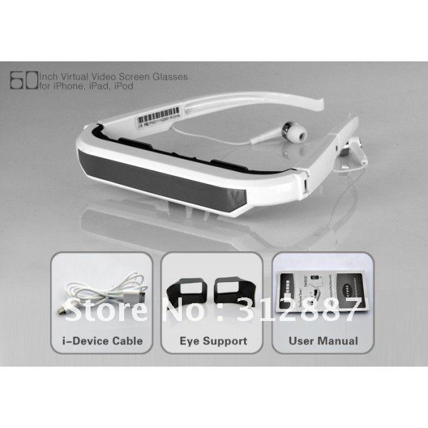 2012 Newest Virtual Video Screen Glasses for iPhone, iPad, iPod - 60 Inch, Plug and Play free shipping(China (Mainland))