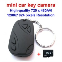 Free shipping! Mini car key camera with 4GB memory, high-quality 720 x 480AVI, 1280x1024 pixels Resolution