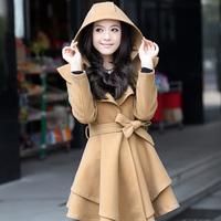Lameizi overcoat female trench woolen outerwear hooded slim skirt winter wool coat