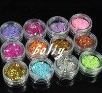 12 Designs 3D Glitter Nail Art Tips Sticker Decal Acrylic Star Heart UV GEL NEW