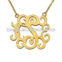 Custom any name Gold plated Monogram necklace personalized jewelry