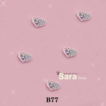Free Shipping-Wholesale, 100pcs/bag, 8mm-10mm 3d Heart Shape metal nail art decorations with shining rhinestones B77