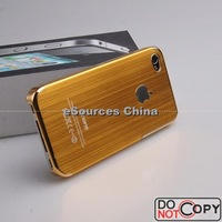 10 x Brushed Metal + Electroplating Gold Frame Aluminum Case For iPhone4 4G 4S With Free Shipping