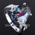 6Pcs Big Egg Shape Rainbow Topaz Cocktail Silver Ring Jv7360 Yin Size 7 Gift For Lovers
