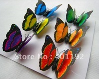 6pcs 3D Wall Stickers butterfly Magnet Room Decor Decals Size 7cm 6 color