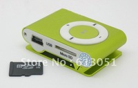 Free DHL 50pcs Mini Clip metal Clip MP3 player with TF Slot MP3+USB+Earphone+Box 8 colors in stock pop