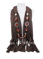 Hot 1pc Wholesale fashion handmade tassels woman Cotton pashmina wrap scarf resin beads pendant necklace shawl scarves jewelry