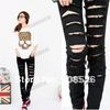 Black  Cotton Denim Ripped Punk Cut-out Women Skinny pants Jeans Jeggings Trousers Size SML free shipping 7340(China (Mainland))