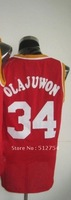 Free Shipping,#34 Hakeem Olajuwon Basketball Jersey,Top quality Sports Jersey,Embroidery logos,Size 44-56,Mix Order