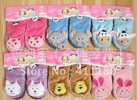 2013 hot sale baby sock anti slip dot sole animal style 12 pairs/lot free shipping