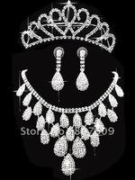 Luxury famous Hair accessories hot sale  design earrings+necklace +pageant crowns 3pcs/set   009