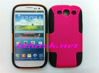 Hybrid Combo Silicone Mesh Cover Case for Samsung Galaxy S3 i9300.Free Shipping