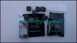 Freeshipping 24pcs in 3 bag Whiskey stones melt sipping ice cube whisky rocks with velvet bag bar accessary Christmas Party gift(China (Mainland))
