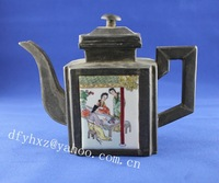 chinese tea pot handmade  Metal tin copper silver inlay porcelain wine pot scenery girl old