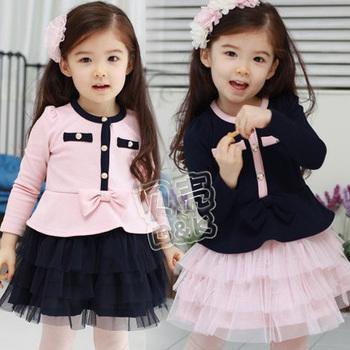 Girls'Dresses Free shipping wholesale 5pcs/lot Lovely elegant princess clothes baby long sleeve dress girl autumn 2 Colors