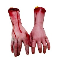 Funny toys Scary Halloween props Tricky bloody hands Party supplies for performance costume(1pcs)