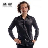 2012 men's clothing men's long-sleeve shirt slim shirt round polka dot male shiny casual shirt