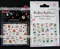 Free shipping-A_Grade Hello kitty 3d nail art stickers mix designs Professional 100pcs/lot nail art stickers