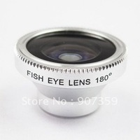 10pcs/lot Fish Eye Lens+Macro Lens 180 degree Wide Angle Digital Camera For iPhone 4 4G 4S with package