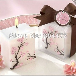 Wholesale free shipping 100pcs/lot smokeless sakura scented wedding gift candle, MK-0783(China (Mainland))
