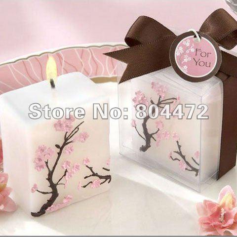 Wholesale free shipping 100pcs/lot smokeless sakura scented wedding gift candle, -0783(China (Mainland))