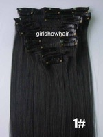 "1pc 22""(55cm) straight clip in hair extensions 130g 12pcs/set hot resistent synthetic fibre  color 1#"