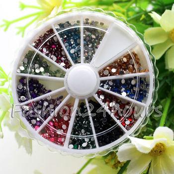 3600pcs 12 Colors Nail Art rhinestones Acrylic Nail Decoration 2mm For UV Gel Iphone and laptop DIY Free Shipping