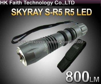 SKYRAY S-R5 Cree R5 800Lumens 5-Mode LED Flashlight Torch+Hostler Pouch Case Gift