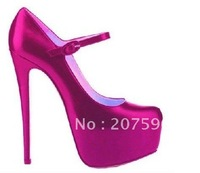 Free shippinfg Genuine purple Satin Upper High Heels Pumps Shoes 160mm With Hidden Platform And Hasp